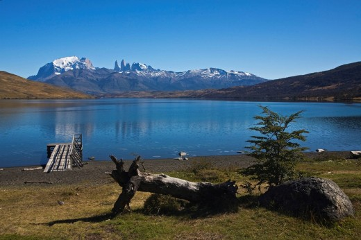 Lake Laguna Azul at the Torres del Paine mountains, National Park Torres del Paine, Patagonia, Chile, South America : Stock Photo