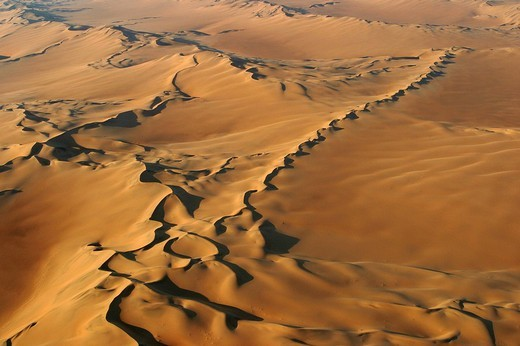 Flight over sand dunes in the central Namib Desert, Namibia, Africa : Stock Photo