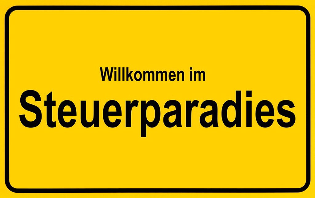 Stock Photo: 1848R-304078 Town sign with the name Steuerparadies, symbolic image for tax haven