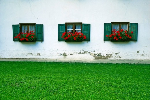Stock Photo: 1848R-304279 Detail of the fassade of a bavarian farmhouse, Upper Bavaria, Bavaria, Germany, Europe