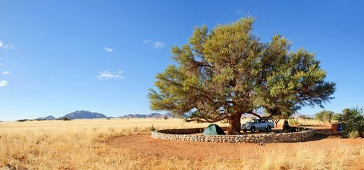 Camping ground at Sesriem Canyon, Republic of Namibia, Africa : Stock Photo