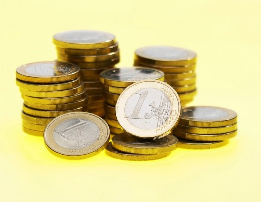 Pile of one-euro coins : Stock Photo