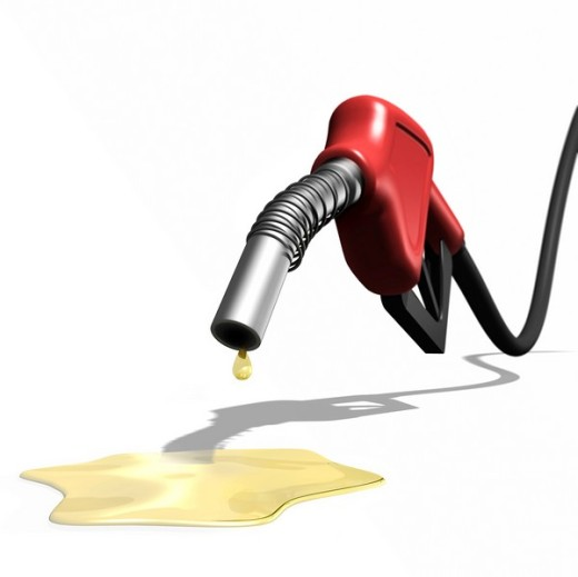 Last drops of gasoline coming out of a gas station nozzle, illustration : Stock Photo