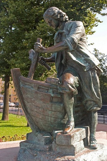 GUS Russia St Petersburg 300 years old Venice of the North River Newa Quay Grounds Memorial for Zar and Carpenter : Stock Photo