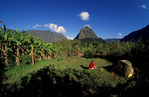 Hiker with a tent in a banana plantation in front of Piton Cabris mountain, 1435m, Cirque de Mafate, Île de La Réunion, France, Europe : Stock Photo