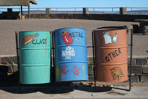 Garbage cans, Namibia, Africa : Stock Photo