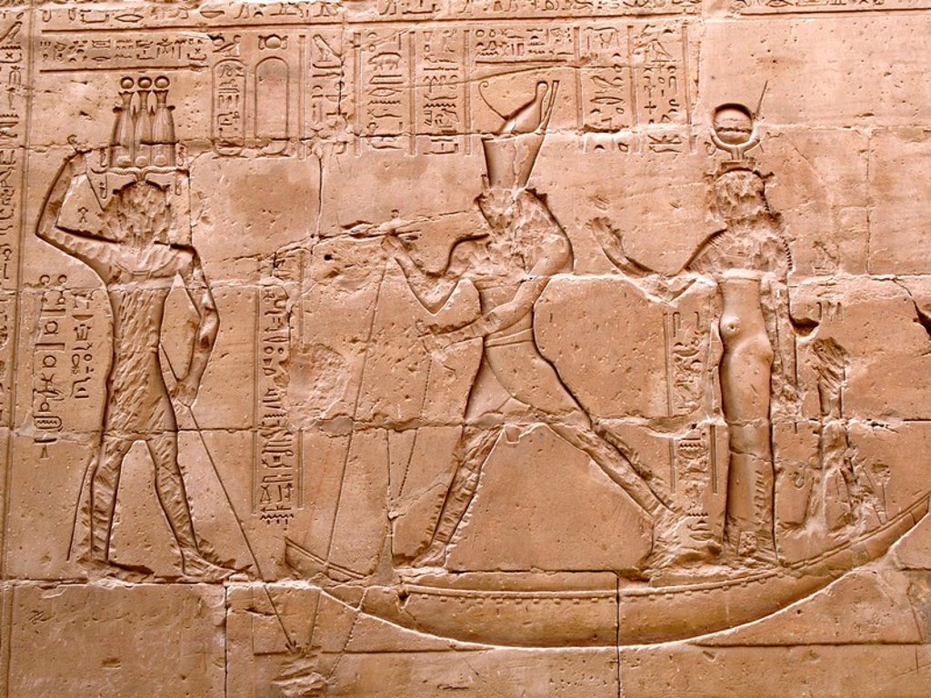 Relief in the temple of Horus Egypt : Stock Photo
