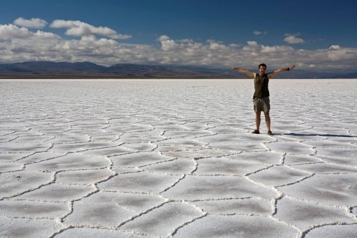 Stock Photo: 1848R-306788 Man on the salt lake Salinas Grandes, across the Andes, Jama pass Paso de Jama, Argentina, South America