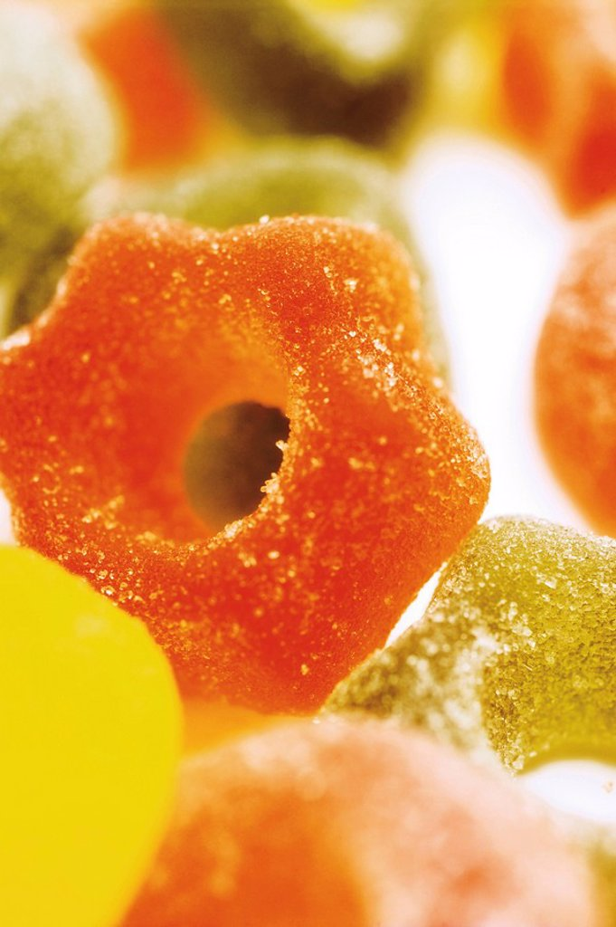 Sugar-coated jelly sweets, star shaped, Christmas tree decorations : Stock Photo