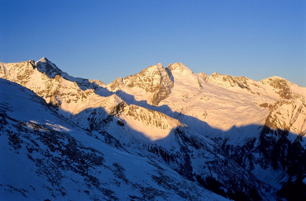 View towards Mt  Olperer, late evening light, Tux Alps, Tyrol, Austria, Europe : Stock Photo