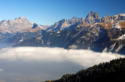 Stock Photo: 1848R-307703 Sea of fog over the Rhone valley, Valais, Switzerland