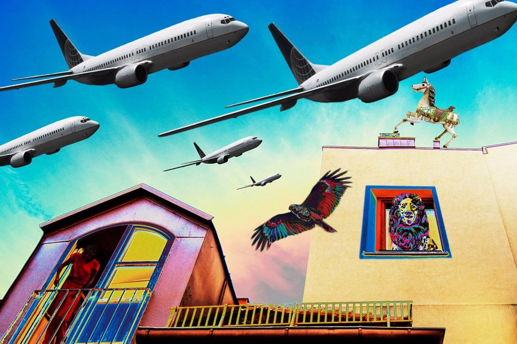 COMPOSING: facades, with aeroplanes, backyard, Munich, Schwabing : Stock Photo