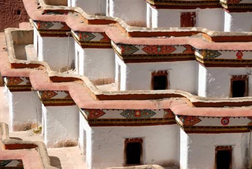 Detail angled construction of Kumbum Pelkor Chöde Monastery Gyantse Tibet China : Stock Photo