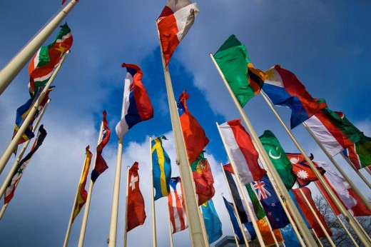 Stock Photo: 1848R-308224 International flags in front of Messe Berlin fairgrounds, Berlin, Germany