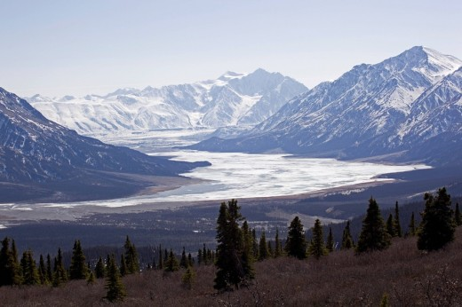 Slims River Valley and Kaskawulsh Glacier, Saint Elias Mountains, Kluane National Park and Reserve, Yukon Territory, Canada, North America : Stock Photo