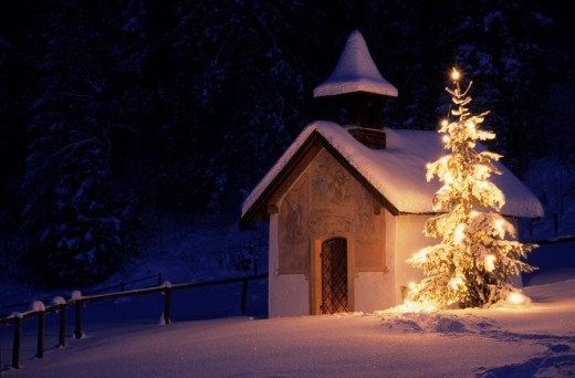 Chapel with christmas tree and snow, Elmau, Bavaria, Germany, Europe : Stock Photo