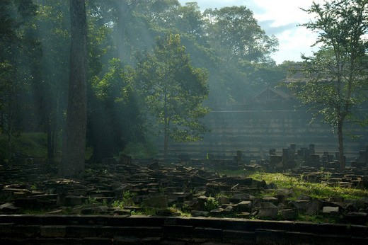 Rays of sun fall onto archaeological site Baphuon Angkor Thom Siem Reap Cambodia : Stock Photo
