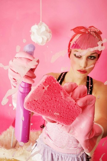 Spring-cleaning in pink : Stock Photo