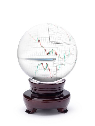 Crystal ball displaying currency echange charts Forex trends : Stock Photo