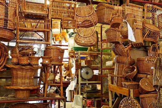 Handmade baskets in the market hall, Funchal, Madeira, Portugal : Stock Photo