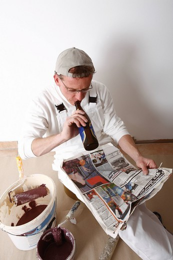 Painter taking a break : Stock Photo