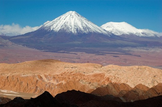Stock Photo: 1848R-310416 View from Death Valley Valle de la Muerte to Licancabur volcano, Atacama desert, northern Chile, South America
