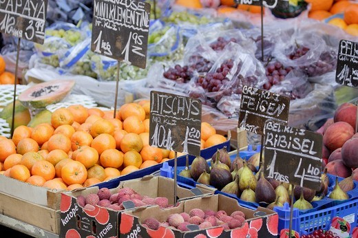 Fruits at the market area called Naschmarkt Vienna Austria : Stock Photo