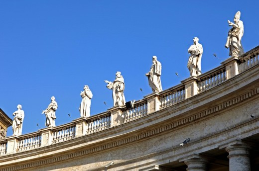 Ionic entablatures Colonnade St  Peter´s square Vatican Rome : Stock Photo