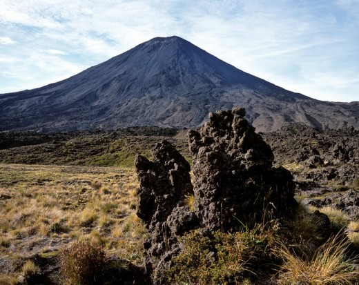Tussock Grass Chionochloa rubra and lava rock with Mt  Ngauruhoe in the background, Tongariro Crossing, Tongariro National Park, North Island, New Zealand, Oceania : Stock Photo