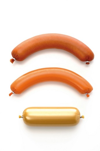 Stock Photo: 1848R-310887 Sausages: Liverwurst, Poultry Sausage, Bologna