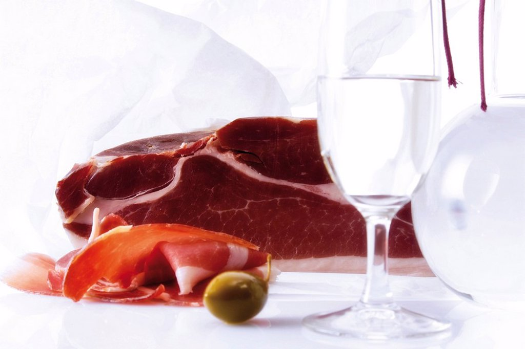Prosciutto and Grappa : Stock Photo