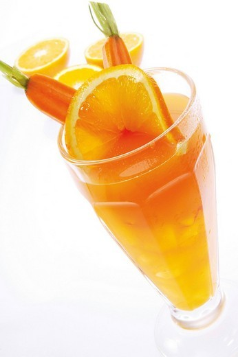 Fresh orange and carrot juice in a glass : Stock Photo