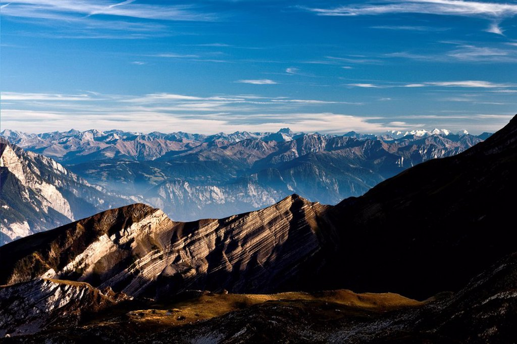 View from Margelkopf Mountain to the Grisons in Switzerland, Europe : Stock Photo