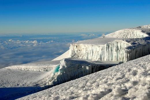 Stock Photo: 1848R-312741 Rebmann Gletscher glacier crater rim Kilimanjaro Tanzania
