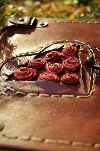 Diary with red leather cover, lock and ornamentation : Stock Photo
