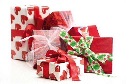 Stock Photo: 1848R-313006 Colourful gifts wrapped with bows