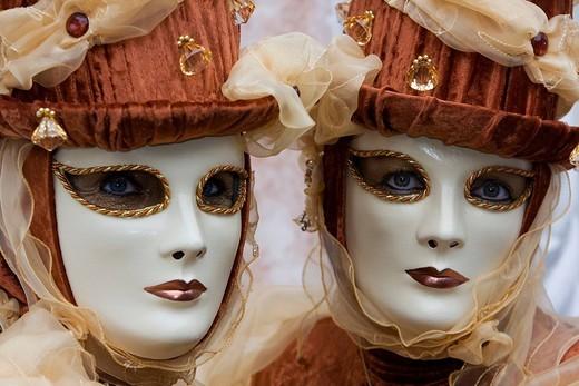 Pair of masks, Carnevale di Venezia, Carnival in Venice, Italy : Stock Photo