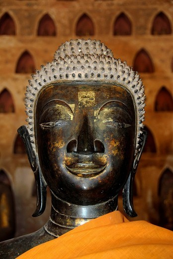 Portrait of an old buddha statue in the buddhist temple Wat Sisaket, Vientiane, Laos, Southeast Asia : Stock Photo