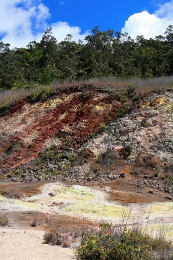 Sulfur fumaroles in the Volcanoes National Park, Kilauea Volcano, Big Island, Hawai´i, Hawaii, USA : Stock Photo