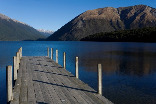 Stock Photo: 1848R-313234 Isolated wooden jetty, Nelson Lakes, South Island, New Zealand