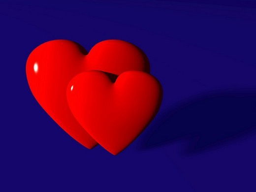 Stock Photo: 1848R-313347 Two red hearts on a blue surface, 3D illustration