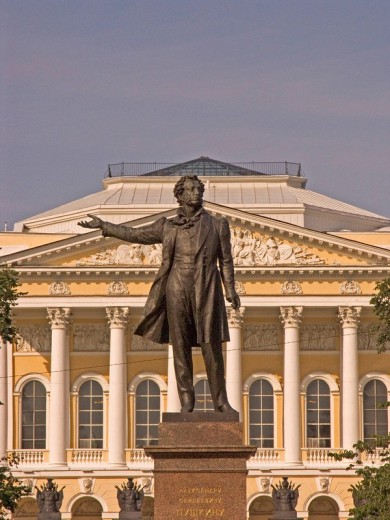 White Nights, GUS Russia St Petersburg 300 years old Venice of the North Memorial of Puschkin Art Designer A Anikuschin from 1957 backside Palace of Michailowski built by Carlo Rossi 1819 to 1825 now the biggest Art Colection of World of Native Art Michai : Stock Photo