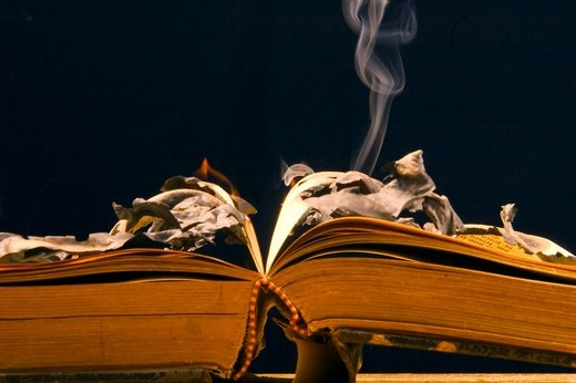 Stock Photo: 1848R-314089 Burning old book