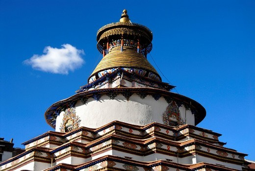 Stock Photo: 1848R-314328 Top of the stupa Kumbum Pelkor Chöde Monastery Gyantse Tibet China