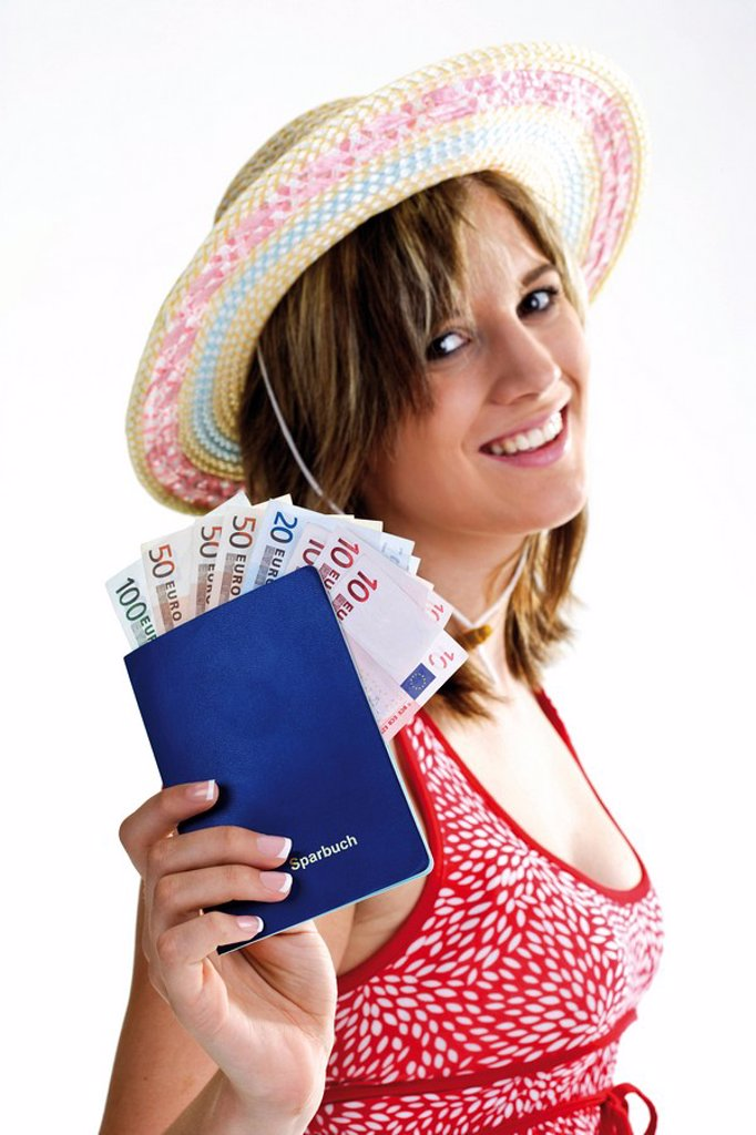 Young woman with savings account book : Stock Photo