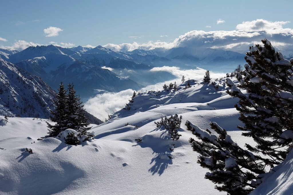 Stock Photo: 1848R-315354 Wintery landscape in the Rofan, Rofan Range, Tyrol, Austria, Europe