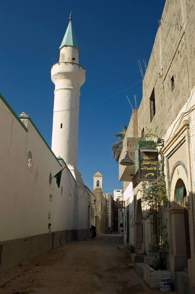 Narrow lane in the historic center of Tripolis, Tripoli, Libya : Stock Photo
