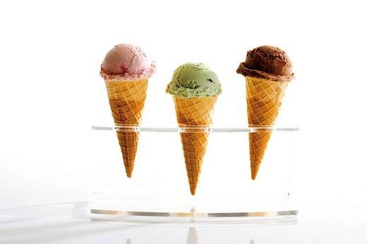 Ice cream cone holder with three ice cream cones : Stock Photo