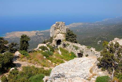 Stock Photo: 1848R-316707 View into mediterranian coast landscape from ruined crusaders castle Kantara North Cyprus