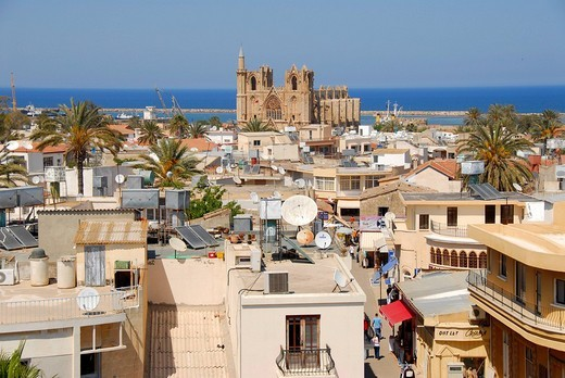 Stock Photo: 1848R-316708 View of the city and former St  Nicholas Cathedral now Lala Mustapha Pasha Mosque Famagusta Gazimagusa North Cyprus
